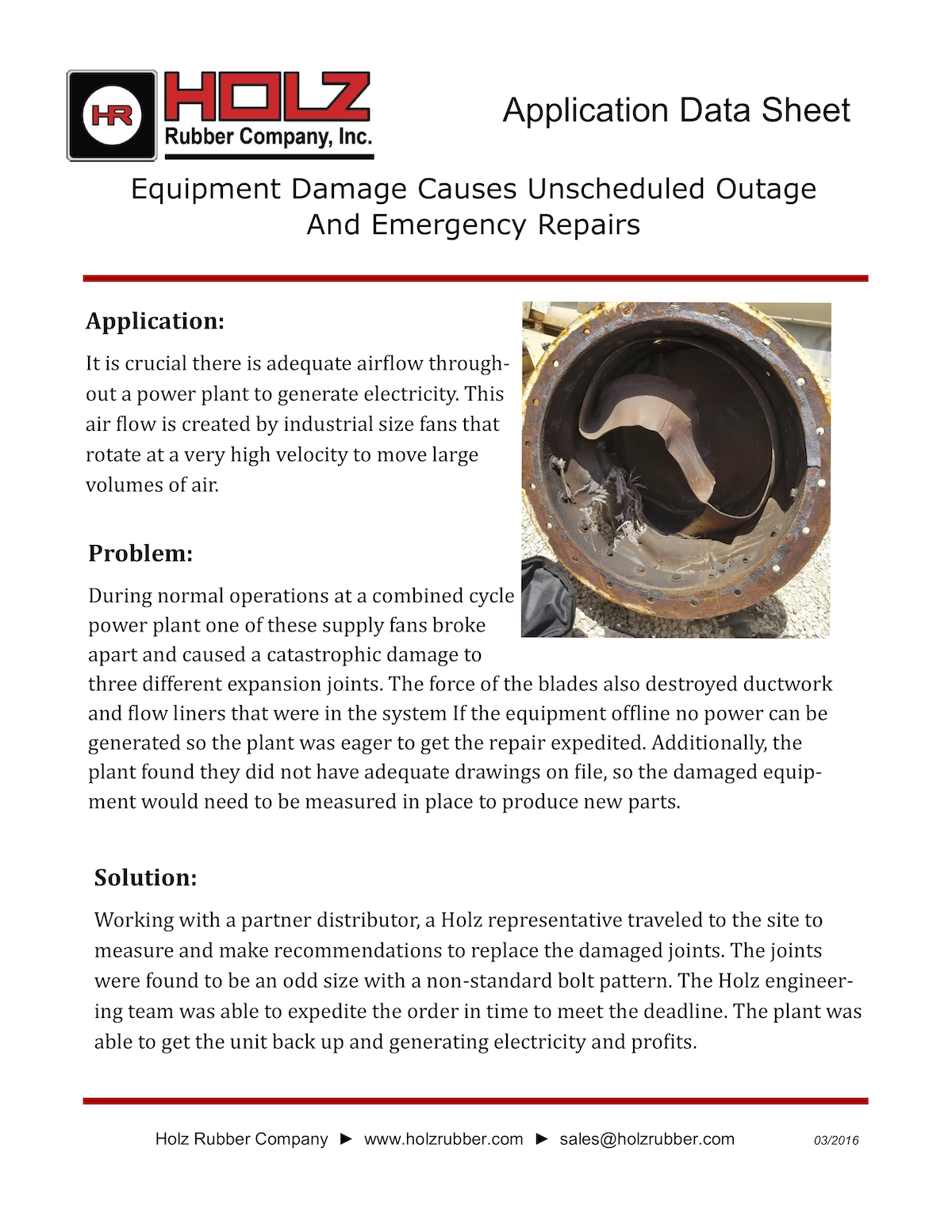 Equipment Damage Causes Unscheduled Outage And Emergency Repairs