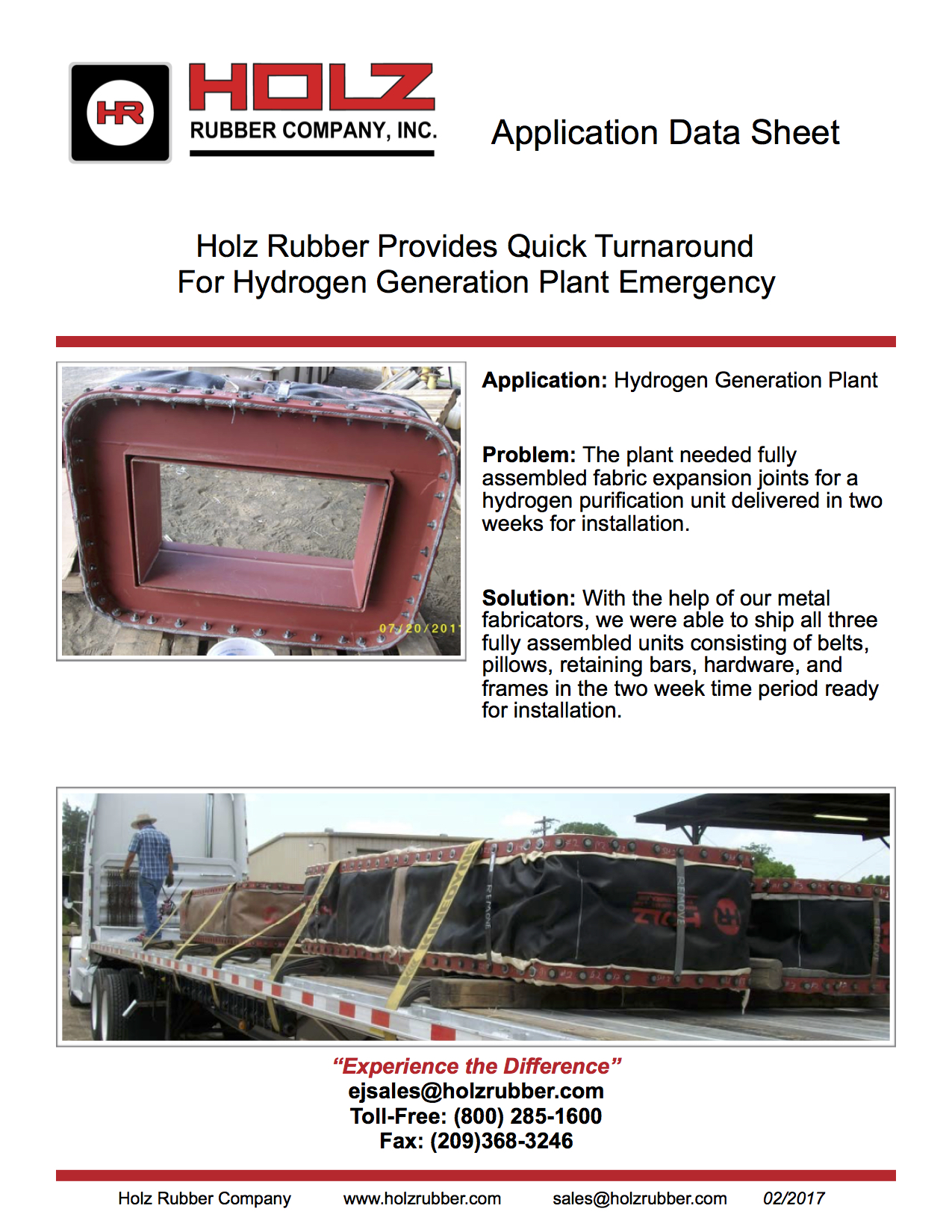 Holz Rubber Provides Quick Turnaround For Hydrogen Generation Plant Emergency