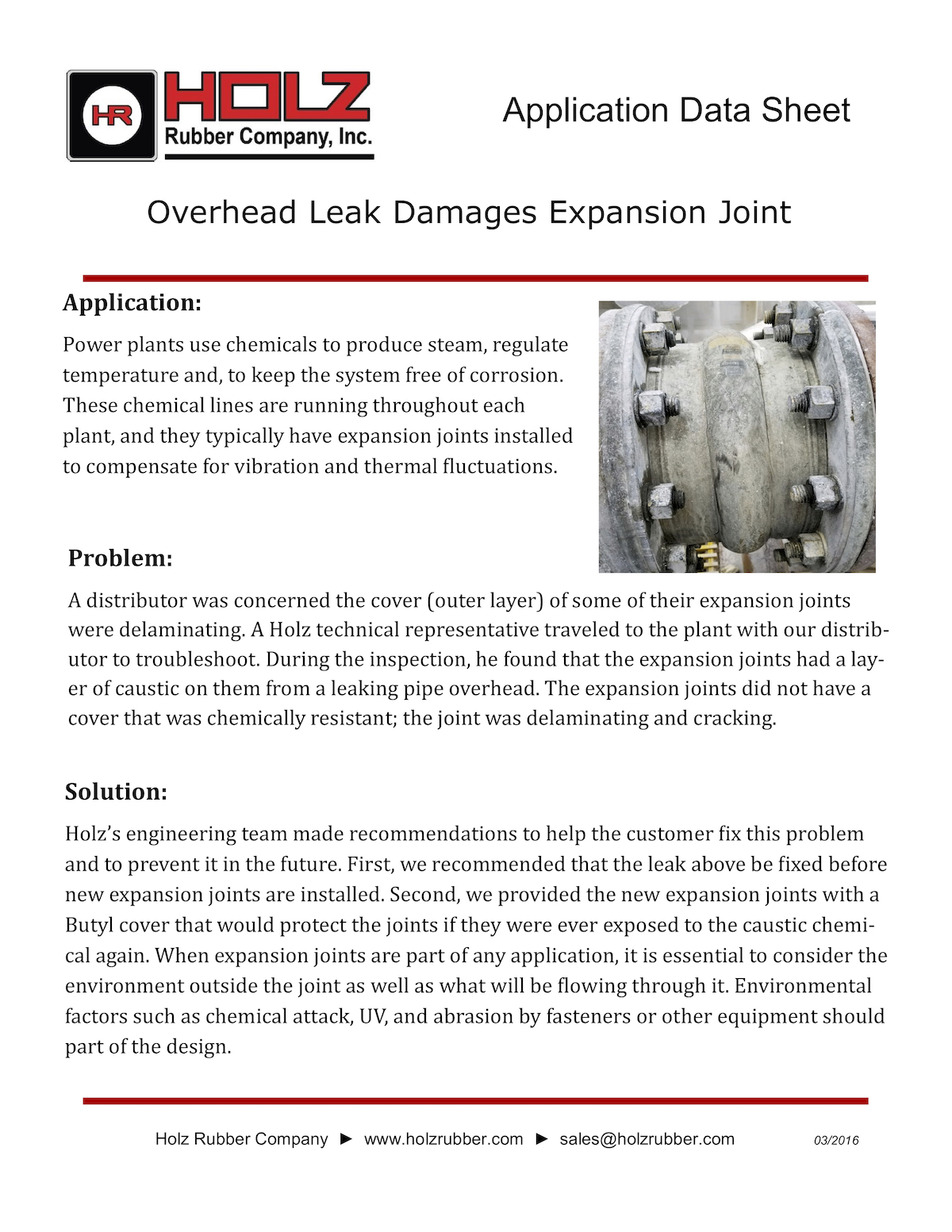 Overhead Leak Damages Expansion Joint
