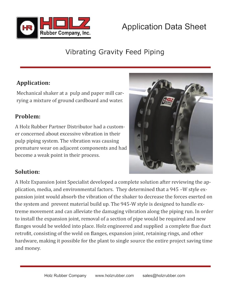 Vibrating Gravity Feed Piping
